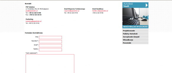 Strona kontakt – dane kontaktowe oraz formularz kontaktowy.