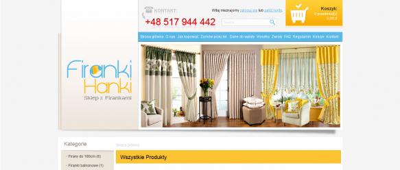 Strona główna – menu nawigacyjne, koszyk, baner.