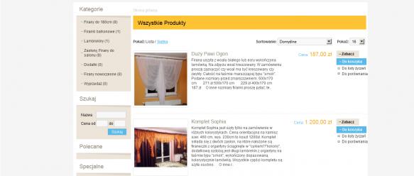 Strona główna – widok produktów – lista.