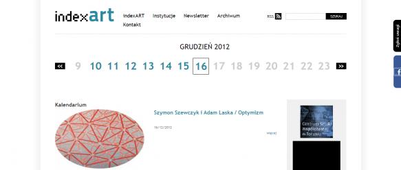 Strona główna – nawigacja e-kalendarium, możliwość przeglądania zarówno przyszłych jak i archiwalnych wydarzeń odbywających się w instytucjach.
