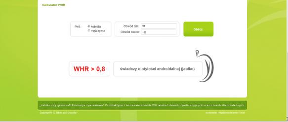 Kalkulator WHR pozwala określić typ sylwetki (jabłko lub gruszka)