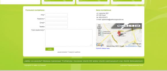 Strona kontaktowa – dane kontaktowe, formularz kontaktowy, mapa Google.