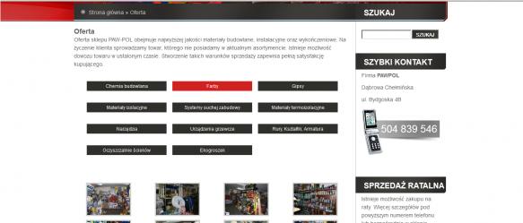 Strona z ofertą sklepu wielobranżowego.