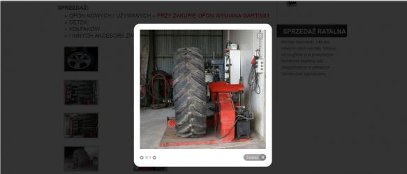 Strona z ofertą zakładu wulkanizacyjnego.