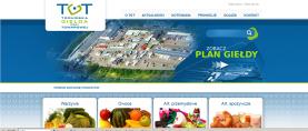 Strona główna – menu nawigacyjne, wyszukiwarka, link do planu giełdy, na dole kategorie produktów, będące odnośnikami do spisu hurtowni.