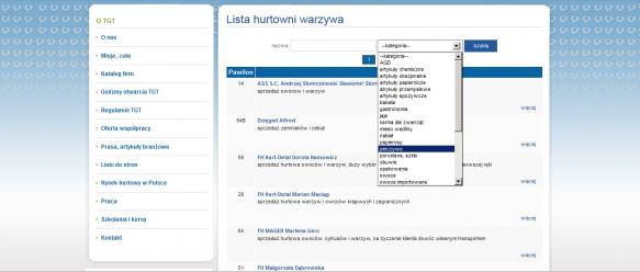 Lista hurtowni z danej kategorii – istnieje możliwość wyszukiwania hurtowników po nazwie, oraz kategorii.
