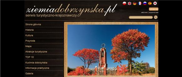 Strona główna – slider, menu nawigacyjne, nawigacja po wersjach językowych.