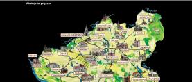 Mapka wykonana w technologii flash prezentująca atrakcje turystyczne na terenie Ziemi Dobrzyńskiej.