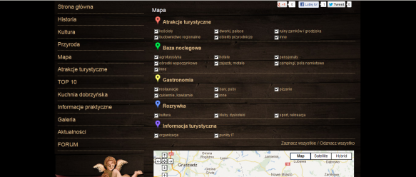 Baza obiektów – zaznaczanie poszczególnych kategorii obiektów, powoduje wyświetlanie znaczników na mapie Google.