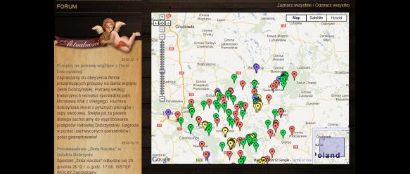 Poszczególne obiekty turystyczne zaznaczone na mapie Google.
