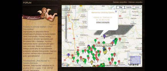 Kliknięcie w obiekt pozwala uzyskać podstawowe informacje o obiekcie turystycznym.