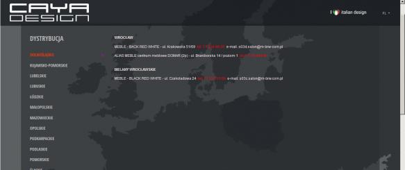 Zakładka dystrybucje – zbiór danych kontaktowy dystrybutorów z podziałem na województwa
