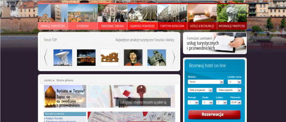 Strony internetowe Toruń - strona główna menu obrazkowe