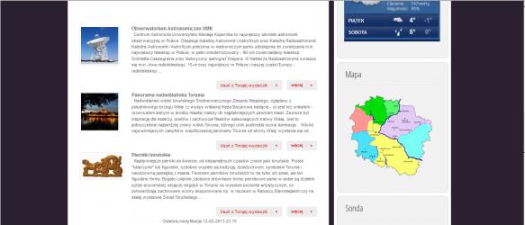 Przegląd atrakcji turystycznych Torunia, w module Twoja wycieczka